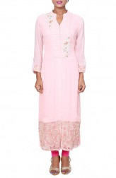 Indian Fashion Designers - Anju Agarwal - Contemporary Indian Designer - Baby Pink Long Tunic - ANJA-AW16-LKA2743