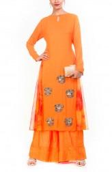 Indian Fashion Designers - Anju Agarwal - Contemporary Indian Designer - Bright Orangish Yellow Tunic Set - ANJA-AW16-LKA3149