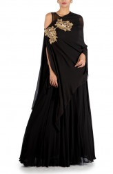 Indian Fashion Designers - Anju Agarwal - Contemporary Indian Designer - Charcoal Black Side Cape Gown - ANJA-AW16-LKA3345