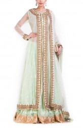 Indian Fashion Designers - Anju Agarwal - Contemporary Indian Designer - Pastel Green Jacket Lehenga Set - ANJA-AW16-LSA-6984