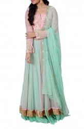 Indian Fashion Designers - Anju Agarwal - Contemporary Indian Designer - Embellished Lime Green Long Jacket Lehenga - ANJA-AW16-LSA6485