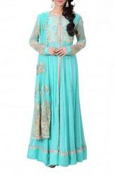 Indian Fashion Designers - Anju Agarwal - Contemporary Indian Designer - Turquoise Green Long Jacket Lehenga - ANJA-AW16-LSA6518