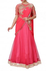 Indian Fashion Designers - Anju Agarwal - Contemporary Indian Designer - Zardozi Tomato Red Lehenga Saree - ANJA-AW16-LSA6542