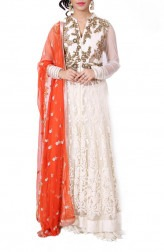Indian Fashion Designers - Anju Agarwal - Contemporary Indian Designer - Ivory Long Jacket Lehenga - ANJA-AW16-LSA6547