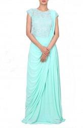Indian Fashion Designers - Anju Agarwal - Contemporary Indian Designer - Embroidered Aqua Drape Saree - ANJA-AW16-LSA6575