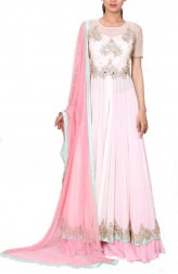 Indian Fashion Designers - Anju Agarwal - Contemporary Indian Designer - Baby Pink Jacket Lehenga - ANJA-AW16-LSA6593