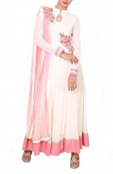 Indian Fashion Designers - Anju Agarwal - Contemporary Indian Designer - Georgette Beige and Pink Anarkali Suit - ANJA-AW16-LSA6595