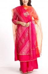 9fa70a0520 Indian Fashion Designers - Anokherang - Contemporary Indian Designer - Pink  Bandhani Salwar Suit - ANO
