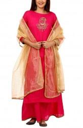 b0544b5b90 Indian Fashion Designers - Anokherang - Contemporary Indian Designer - Pink  Gold Polka Zardozi Salwar Suit