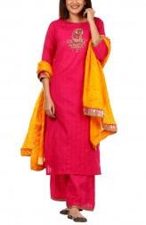 426a8871e4 Indian Fashion Designers - Anokherang - Contemporary Indian Designer - Pink  Yellow Bandhej Zardozi Salwar Suit