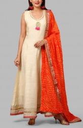 092a16f902 Indian Fashion Designers - Anokherang - Contemporary Indian Designer -  Off-White Orange Bandhej Salwar