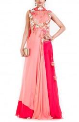 Indian Fashion Designers - Anushree Agarwal - Contemporary Indian Designer - Peach Pink Lehenga Set - ANUA-AW16-AEL-0083