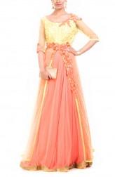 Indian Fashion Designers - Anushree Agarwal - Contemporary Indian Designer - Lemon Strawberry Jacket Lehenga - ANUA-AW16-AEL055
