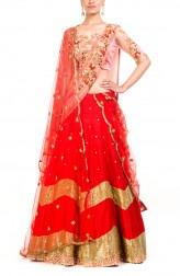 Indian Fashion Designers - Anushree Agarwal - Contemporary Indian Designer - Gorgeous Scarlet Bridal Lehenga - ANUA-AW16-AEL058