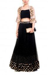 Indian Fashion Designers - Anushree Agarwal - Contemporary Indian Designer - Black And Gold Cape Lehenga - ANUA-AW16-AEL061