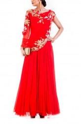 Indian Fashion Designers - Anushree Agarwal - Contemporary Indian Designer - Bright Orange Gown - ANUA-AW16-AES-478