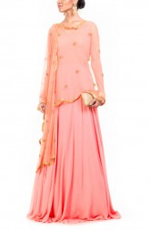 Indian Fashion Designers - Anushree Agarwal - Contemporary Indian Designer - Peach Cape Suit - ANUA-AW16-AES440