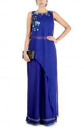 Indian Fashion Designers - Anushree Agarwal - Contemporary Indian Designer - Indigo Blue Layer Crop Top Set - ANUA-AW16-AES457