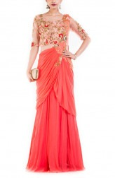 Indian Fashion Designers - Anushree Agarwal - Contemporary Indian Designer - Salmon Peach Gown - ANUA-AW16-AWD-394