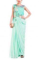 Indian Fashion Designers - Anushree Agarwal - Contemporary Indian Designer - Aquamarine Jumpsuit - ANUA-AW16-AWD-398