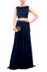 Indian Fashion Designers - Anushree Agarwal - Contemporary Indian Designer - Midnight Pearl Crop Top Set - ANUA-AW16-AWD246