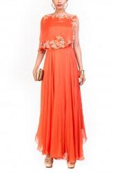Indian Fashion Designers - Anushree Agarwal - Contemporary Indian Designer - Tangerine Cape Dress - ANUA-AW16-AWD311