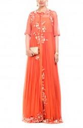 Indian Fashion Designers - Anushree Agarwal - Contemporary Indian Designer - Jacket Style Orange Gown - ANUA-AW16-AWD319