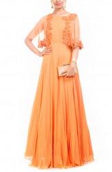 Indian Fashion Designers - Anushree Agarwal - Contemporary Indian Designer - Orange Cape Gown - ANUA-AW16-AWD322