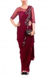 Indian Fashion Designers - Anushree Agarwal - Contemporary Indian Designer - Wine Dhoti Drape Saree - ANUA-AW16-AWD324