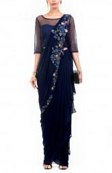 Indian Fashion Designers - Anushree Agarwal - Contemporary Indian Designer - Navy Blue Dhoti Drape Saree - ANUA-AW16-AWD325