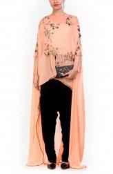 Indian Fashion Designers - Anushree Agarwal - Contemporary Indian Designer - Kaftan Cut Long Short Cape Set - ANUA-AW16-AWD326
