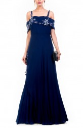 Indian Fashion Designers - Anushree Agarwal - Contemporary Indian Designer - Navy Blue Off Shoulder Gown - ANUA-AW16-AWD332