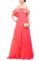 Indian Fashion Designers - Anushree Agarwal - Contemporary Indian Designer - Peach Off Shoulder Cape Gown - ANUA-AW16-AWD333