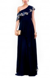 Indian Fashion Designers - Anushree Agarwal - Contemporary Indian Designer - Navy Blue Drop Shoulder Gown - ANUA-AW16-AWD335