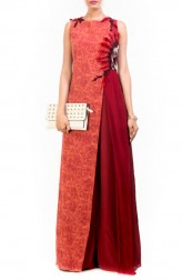 Indian Fashion Designers - Anushree Agarwal - Contemporary Indian Designer - Brick Red Layered Jumpsuit - ANUA-AW16-AWD338