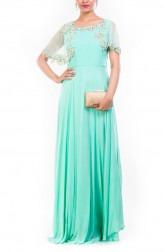 Indian Fashion Designers - Anushree Agarwal - Contemporary Indian Designer - Aqua Marine Cape Style Gown - ANUA-AW16-AWD343