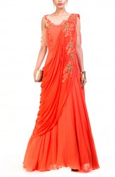 Indian Fashion Designers - Anushree Agarwal - Contemporary Indian Designer - Tangerine Saree Drape Gown - ANUA-AW16-AWD356