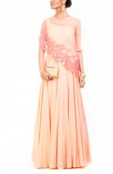 Indian Fashion Designers - Anushree Agarwal - Contemporary Indian Designer - Rose Quartz Cape Gown - ANUA-AW16-AWD357