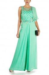 Indian Fashion Designers - Anushree Agarwal - Contemporary Indian Designer - Aqua Green Dungaree Style Jumpsuit - ANUA-AW16-AWD407