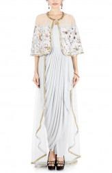 Indian Fashion Designers - Anushree Agarwal - Contemporary Indian Designer - Trail Drape Dress - ANUA-AW16-AWD424