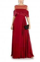 Indian Fashion Designers - Anushree Agarwal - Contemporary Indian Designer - Wine Layered Jumpsuit - ANUA-AW16-AWD432