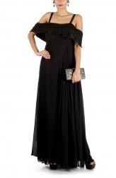 Indian Fashion Designers - Anushree Agarwal - Contemporary Indian Designer - Black Charcoal Layered Jumpsuit - ANUA-AW16-AWD433