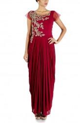 Indian Fashion Designers - Anushree Agarwal - Contemporary Indian Designer - Wine Dhoti Drape Gown - ANUA-AW16-AWD441