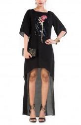 Indian Fashion Designers - Anushree Agarwal - Contemporary Indian Designer - Black Long Short Tunic - ANUA-AW16-AWT-3023