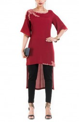 Indian Fashion Designers - Anushree Agarwal - Contemporary Indian Designer - Wine Long Shot Tunic - ANUA-AW16-AWT-3024