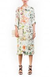 Indian Fashion Designers - Anushree Agarwal - Contemporary Indian Designer - Aqua Botanical Garden Print Tunic - ANUA-AW16-AWT2234