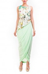 Indian Fashion Designers - Anushree Agarwal - Contemporary Indian Designer - Asymmetrical Aqua Printed Peplum Skirt Set - ANUA-AW16-AWT2241BY2242