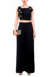 Indian Fashion Designers - Anushree Agarwal - Contemporary Indian Designer - Black Feather Crop Top Set - ANUA-AW16-AWT2247BYAWT2252