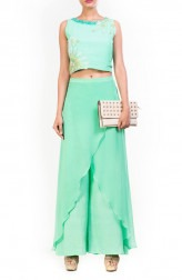 Indian Fashion Designers - Anushree Agarwal - Contemporary Indian Designer - Aqua Marine Feather Crop Top Set - ANUA-AW16-AWT2249BYAWT2258