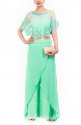 Indian Fashion Designers - Anushree Agarwal - Contemporary Indian Designer - Aquamarine Cape Cropper Palazzo Set - ANUA-AW16-AWT2257BY2258